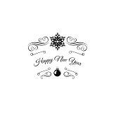 Merry Christmas Greetings Card Design with Snow Flake. Filigree Swirl
