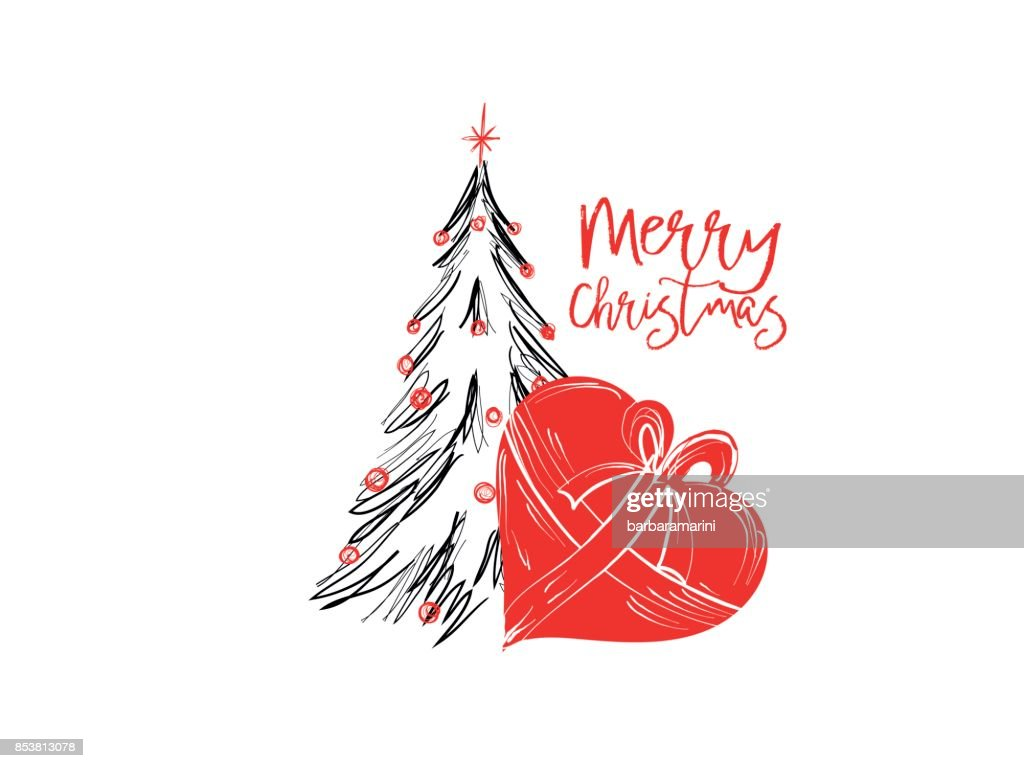 Merry Christmas Greetings Cards Hand Drawn With Black And Red Ink