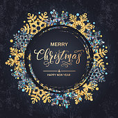 Merry Christmas handwriting script lettering. Christmas greeting  with snowflakes on black background. Vector illustration