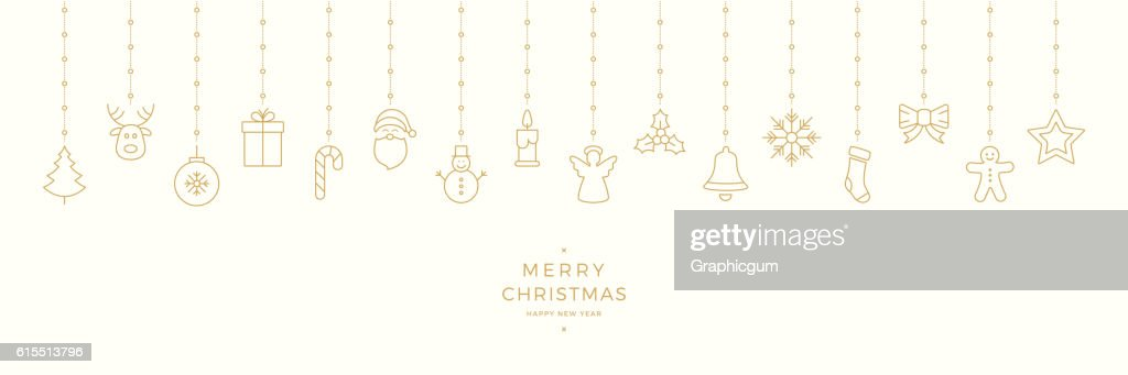 merry christmas hanging gold outline elements