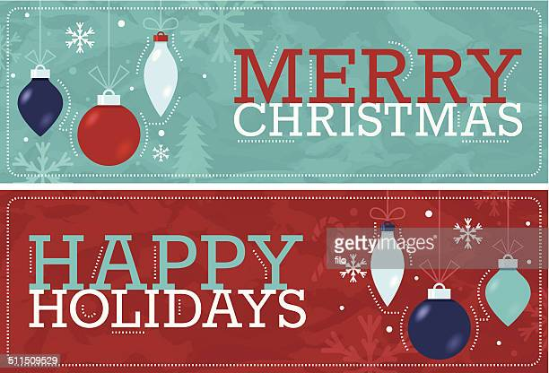 merry christmas happy holidays banners - happy holidays stock illustrations, clip art, cartoons, & icons