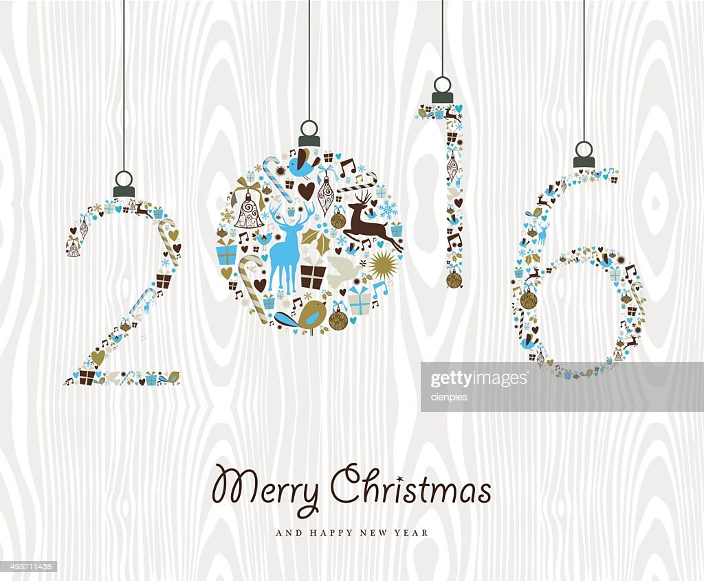 Merry Christmas Happy new year 2016 retro ornament