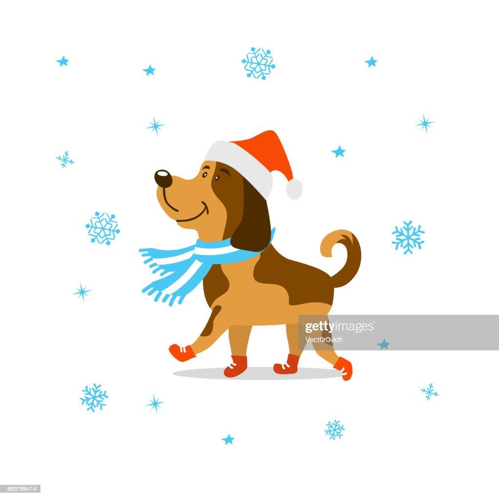 Frohe Weihnachten Frohes Neues Jahr 2018 Niedlichen Cartoon Hund In ...