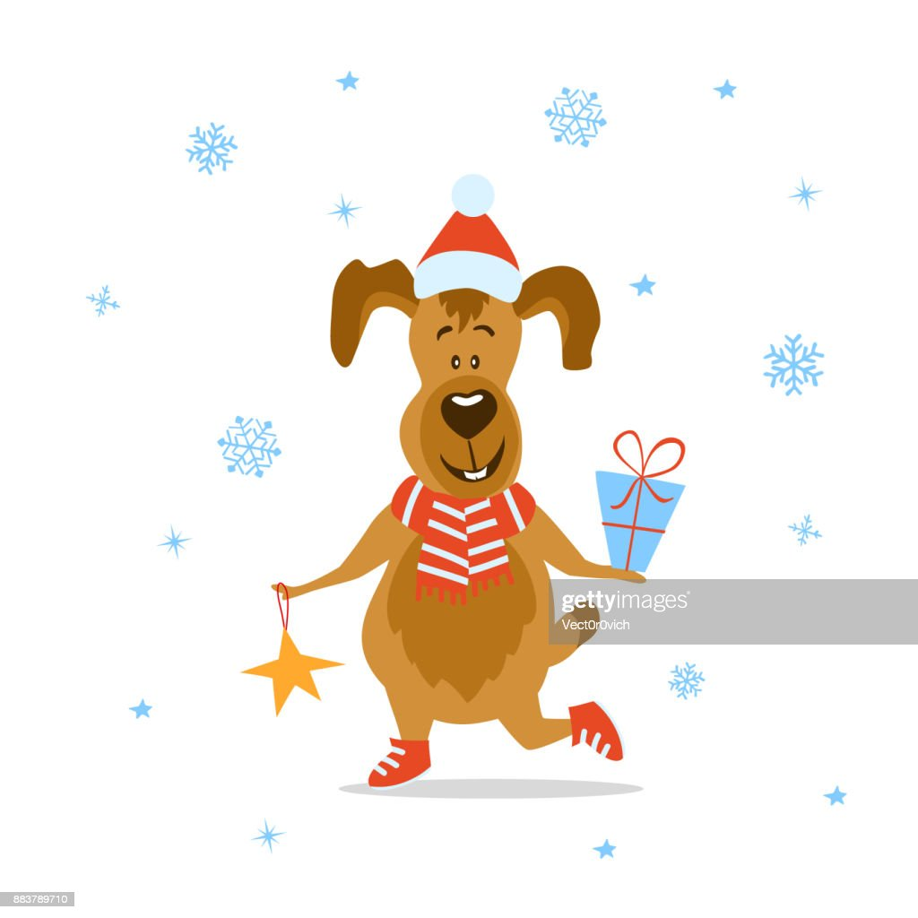 Merry Christmas Happy New Year 2018 Funny Cartoon Dog With Present ...