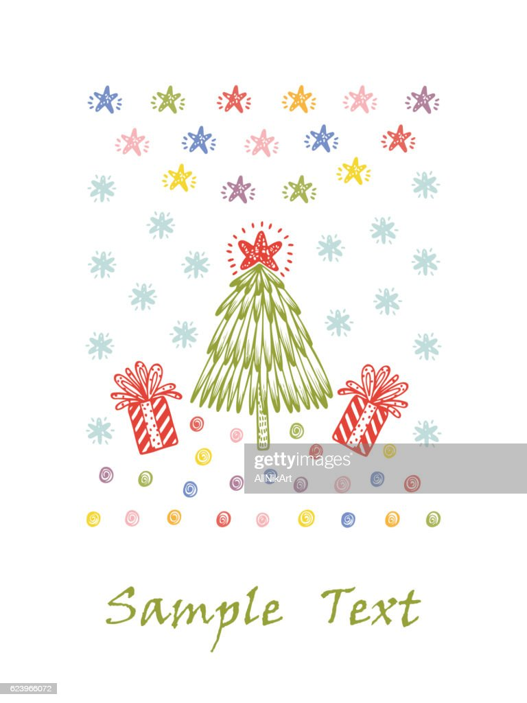 merry christmas happy new year card template christmas tree gift vector art