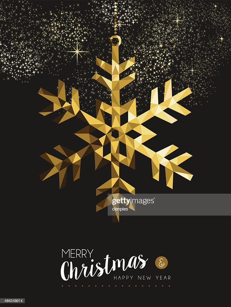 Frohe Weihnachten Und Happy New Year.Frohe Weihnachten Und Happy New Year Gold Schnee Origami Stock