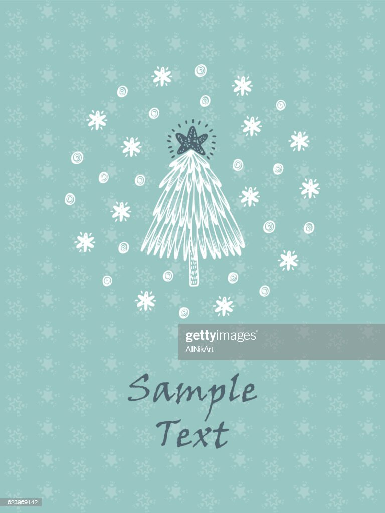 Merry Christmas Happy New Year Greeting Card Template Christmas Tree