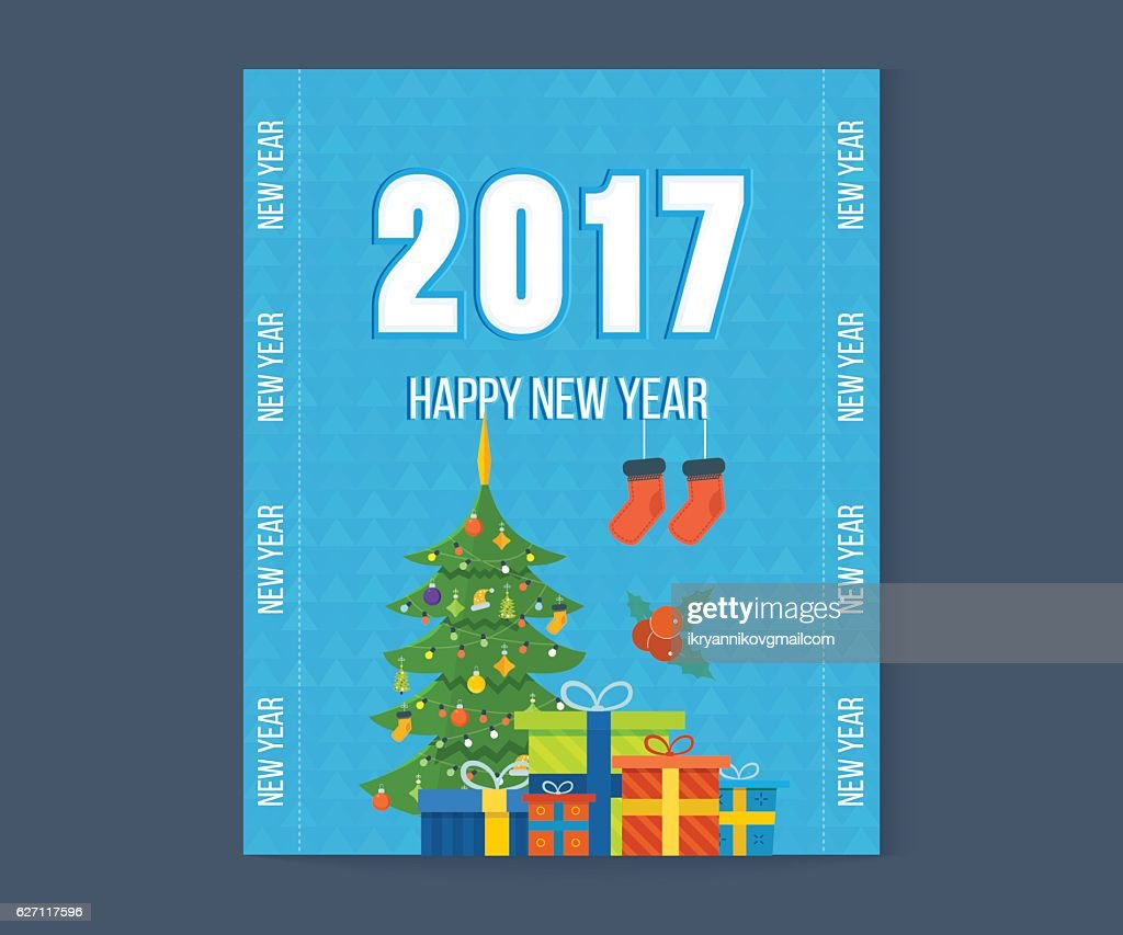 Merry Christmas Happy New Year Greetings Card With Winter Background
