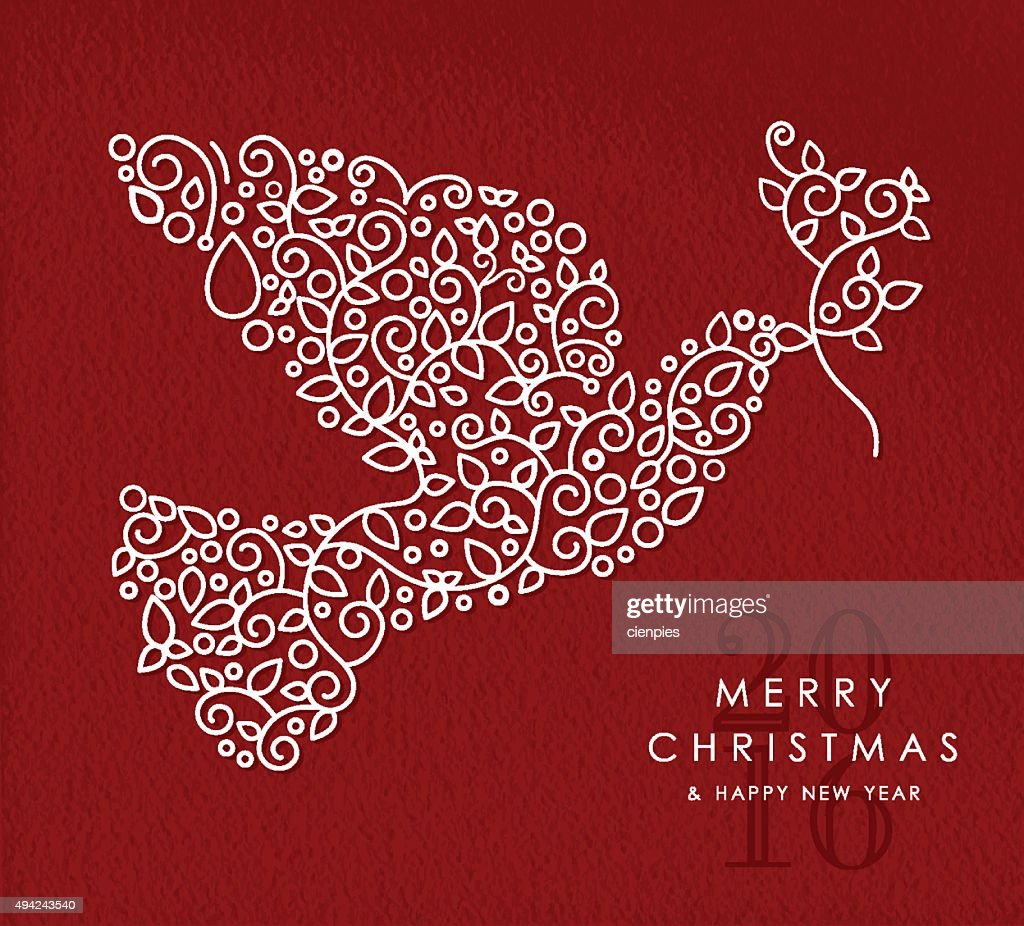 Merry christmas happy new year outline dove deco