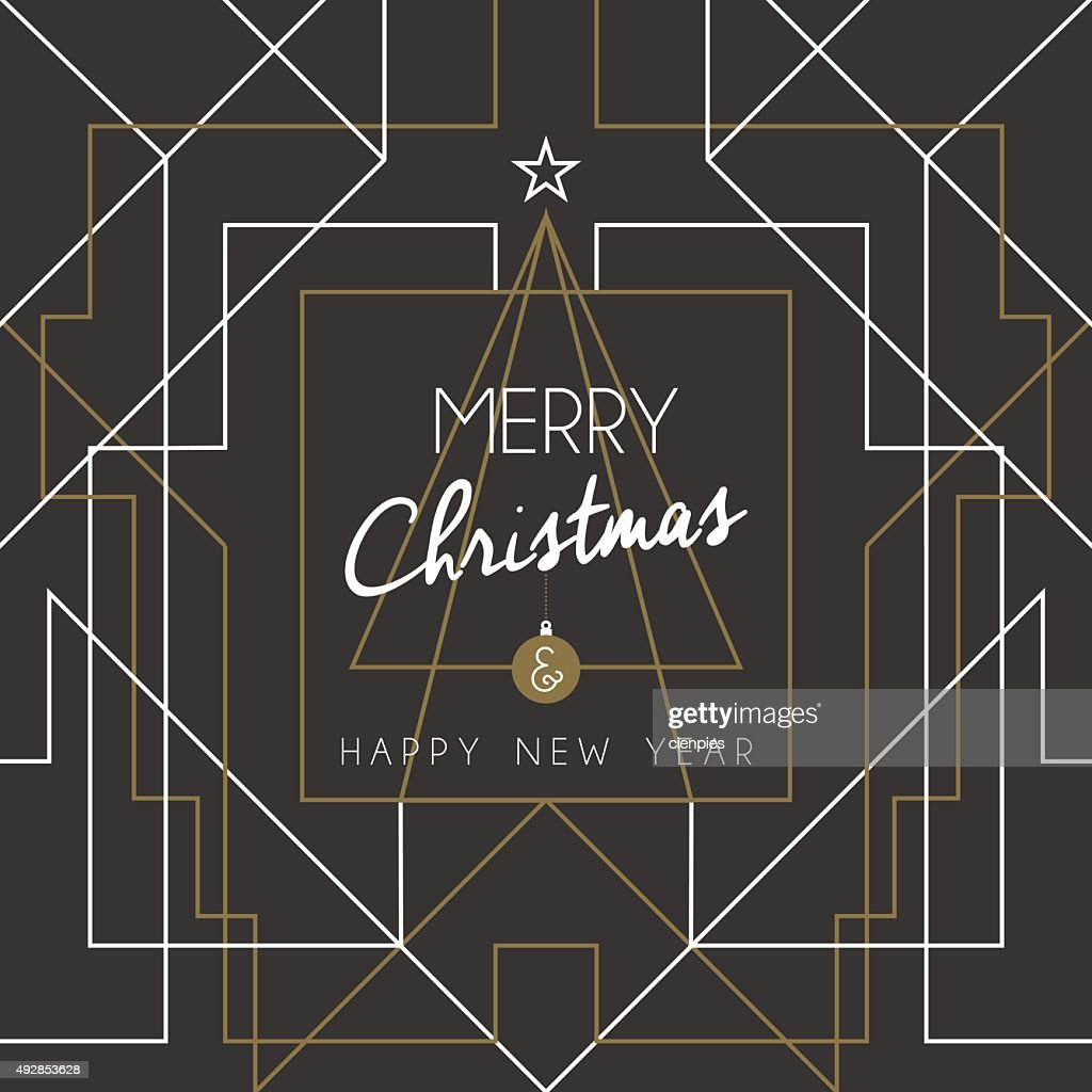 Merry christmas happy new year tree art deco line