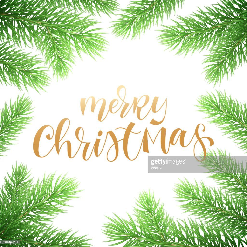 Merry Christmas Holiday Greeting Card Background Template Of Golden ...