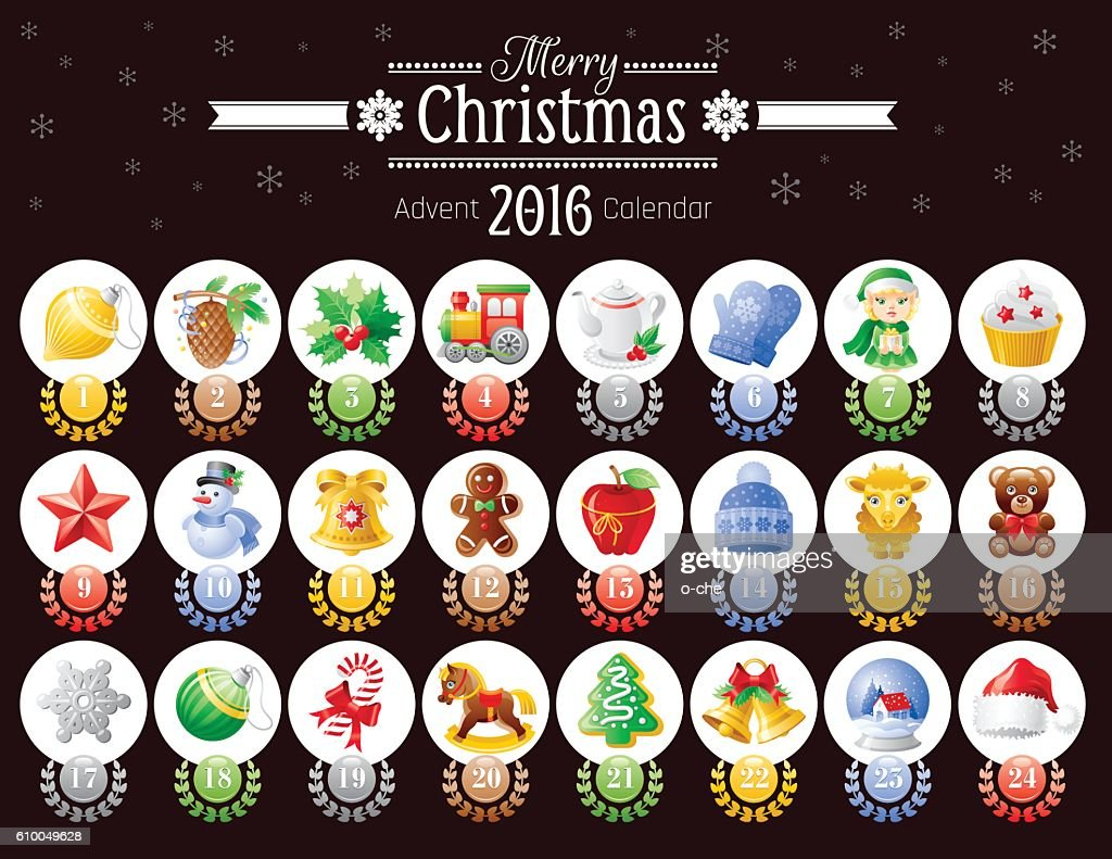 Merry Christmas icon set, vector advent calendar 2016 illustration