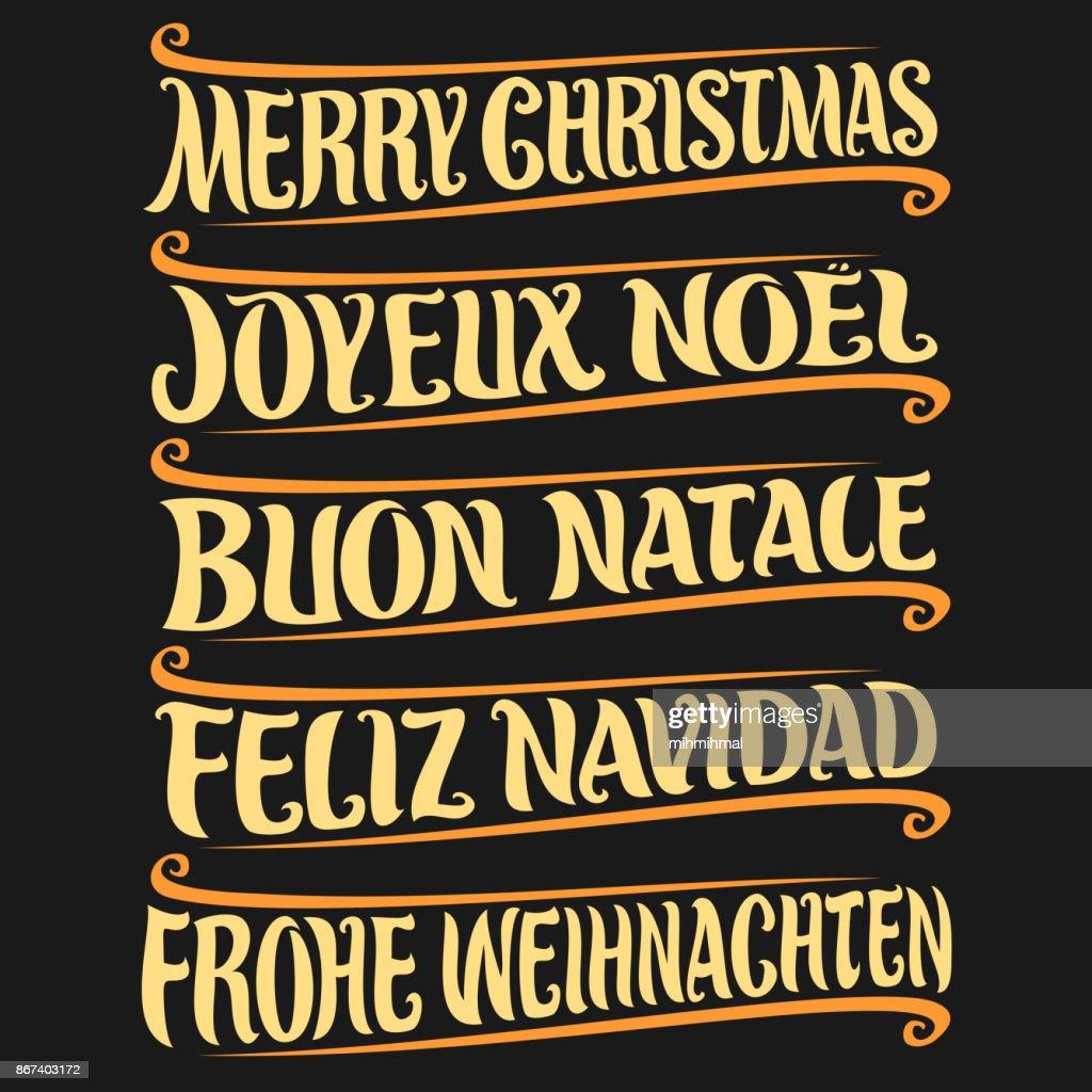 Frohe Weihnachten In Verschiedenen Sprachen.Frohe Weihnachten In Verschiedenen Sprachen Stock Illustration
