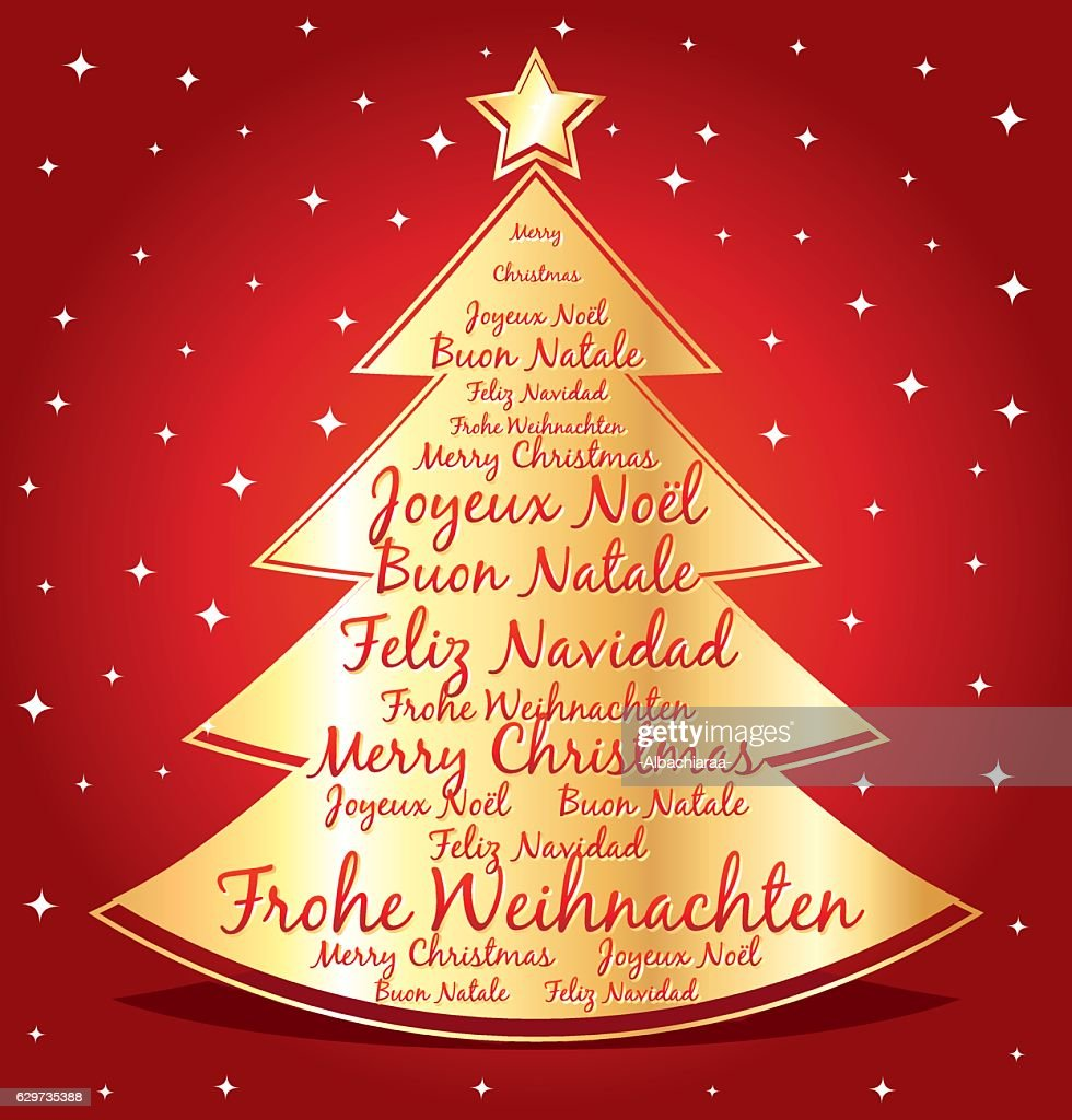 merry christmas in different languages greeting card vector art