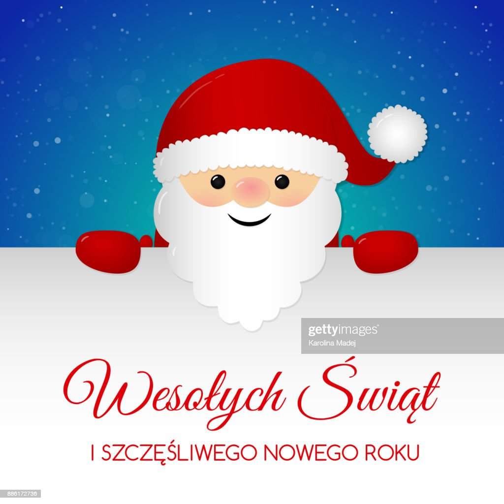 merry christmas in polish wesolych swiat concept of card with decoration vector