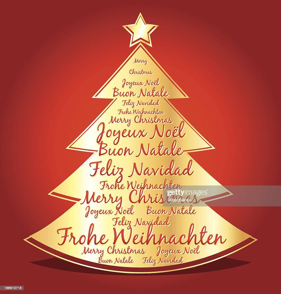 Frohe Weihnachten Auf Allen Sprachen.Frohe Weihnachten In Verschiedenen Sprachen Graphic Golden Baum