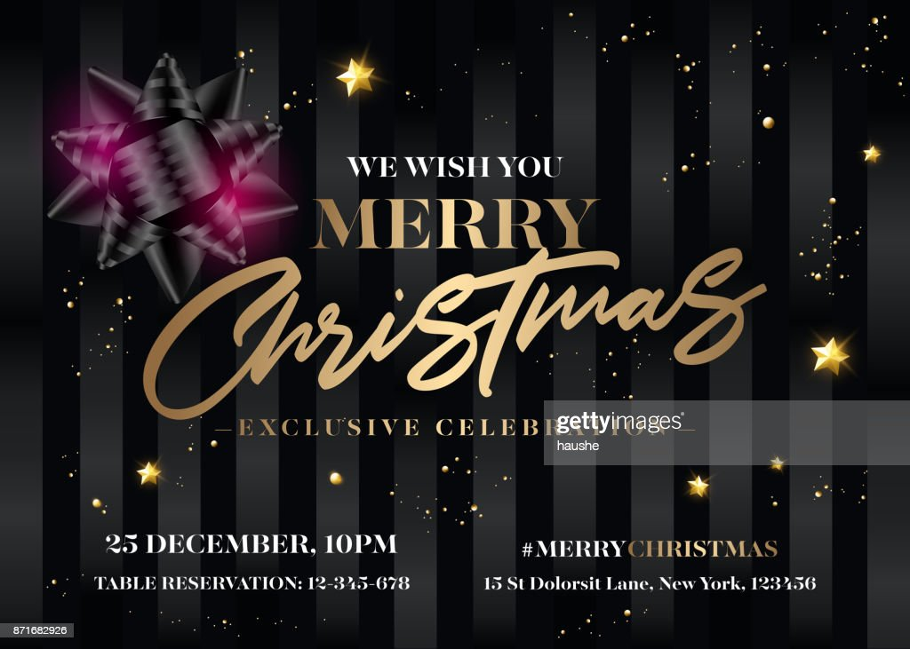 Merry Christmas Invitation Design. Horizontal Vector Elegant Black Greeting Card. Xmas Celebration Event Poster. Stylish Dark Background with Gold Lettering. Flyer, Poster, Banner, Postcard Template.