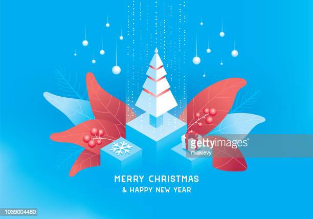 ilustraciones, imágenes clip art, dibujos animados e iconos de stock de concepto isométrica de feliz navidad - flor de pascua