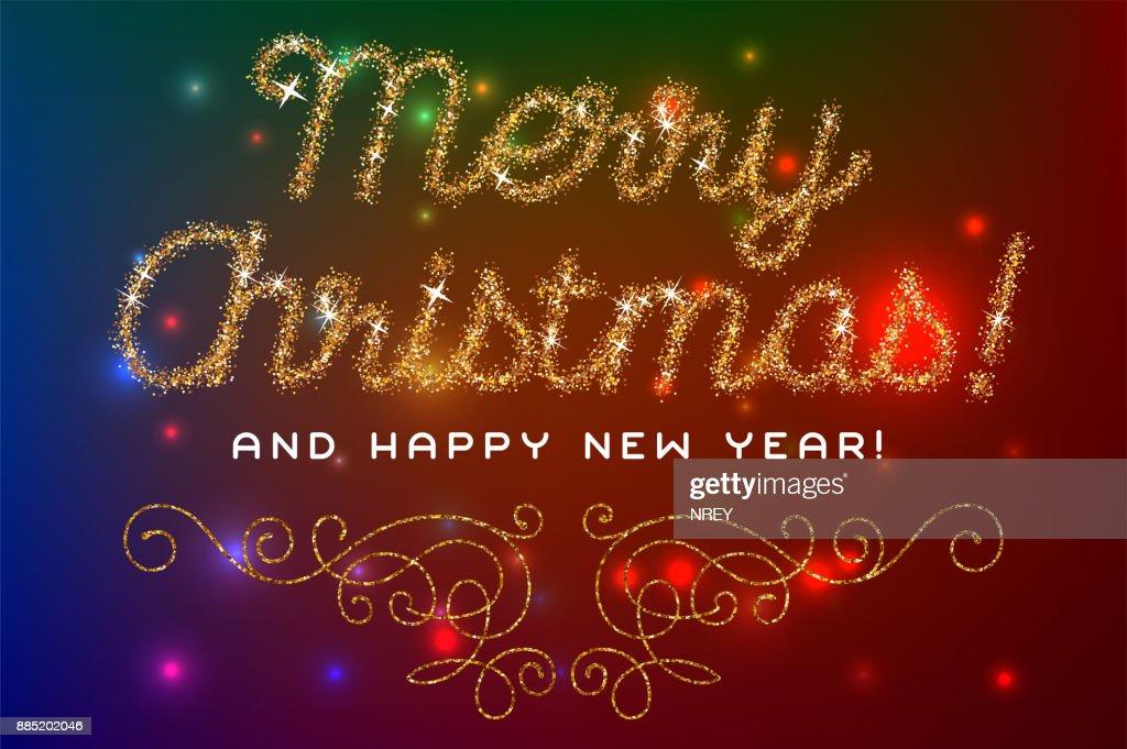 Frohe Weihnachten Glitzer.Frohe Weihnachten Schriftzug Gold Glitzer Schrift Stock