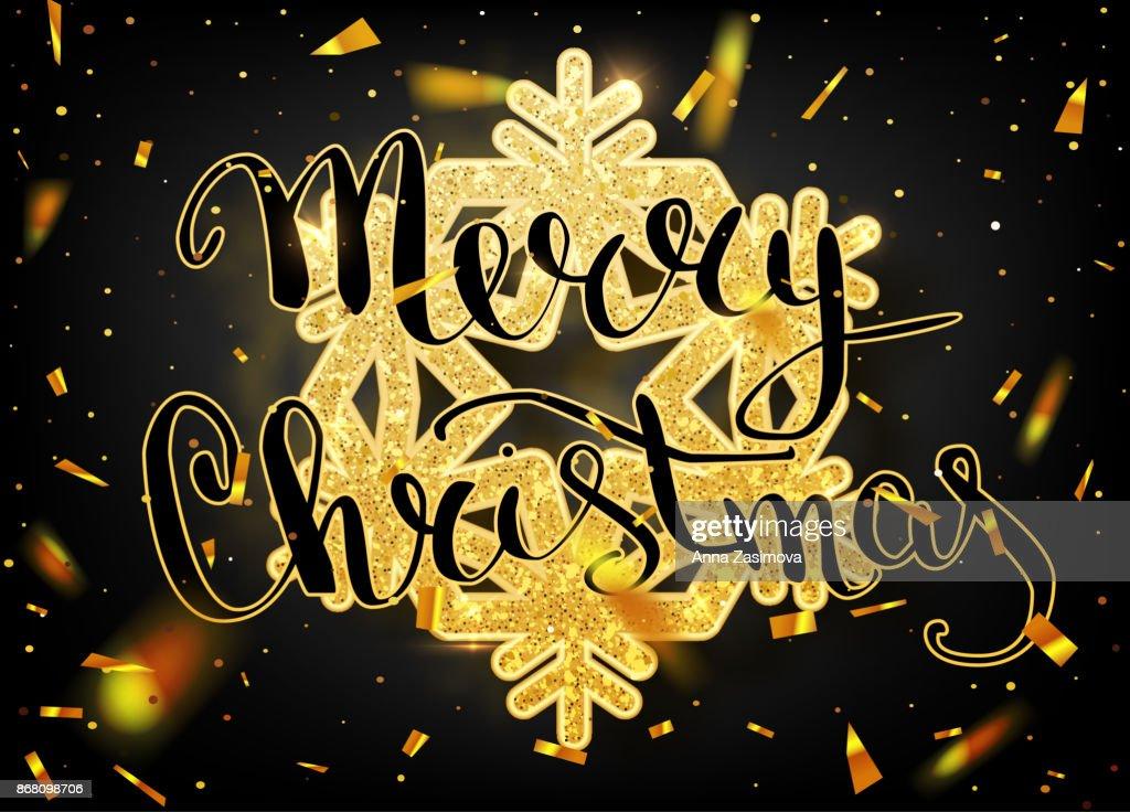 Frohe Weihnachten Schriftzug Beleuchtet.Frohe Weihnachtenschriftzug Grußkarte Für Urlaub Gold Glänzend