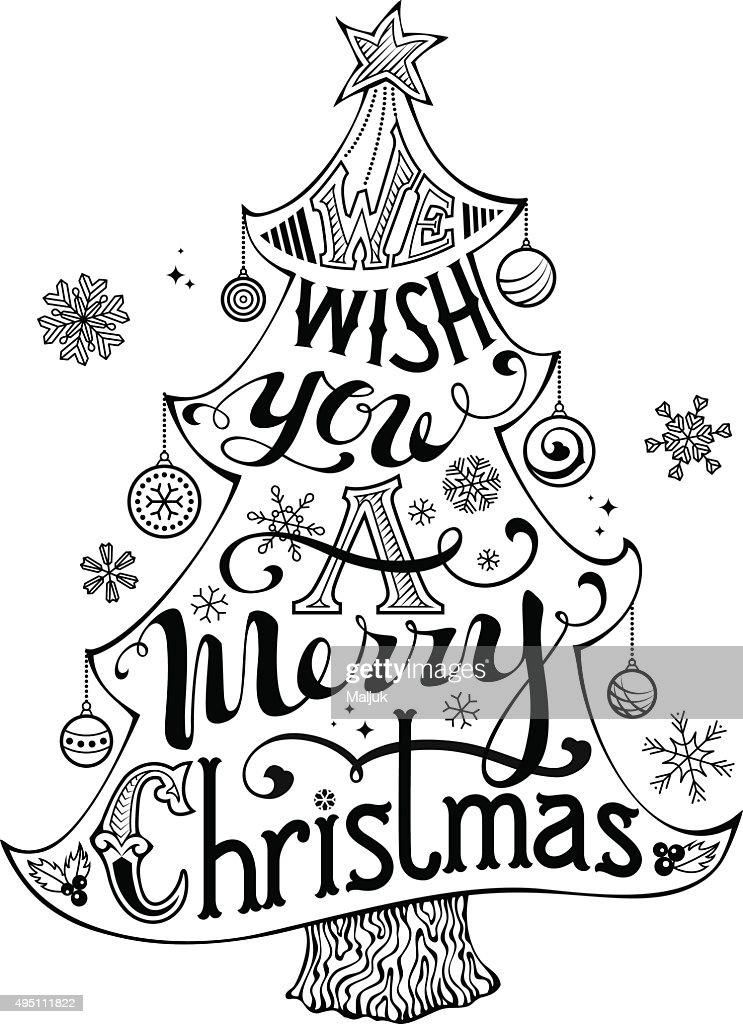 Frohe Weihnachtenschriftzug Im Christmas Tree Silhouette ...