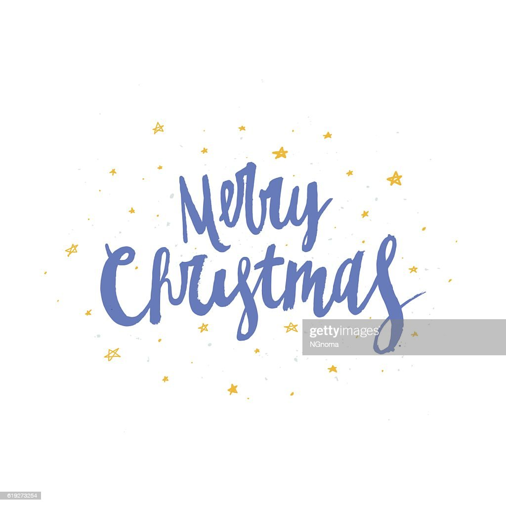 Merry Christmas Lettering Perfect Xmas Design For Greeting Cards And
