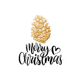 Merry Christmas lettering. Vector pinecone drawing illustration. Happy Holidays greeting card, poster.