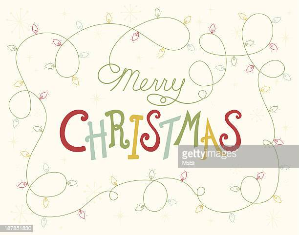 merry christmas lettering with festive lights - christmas lights stock illustrations