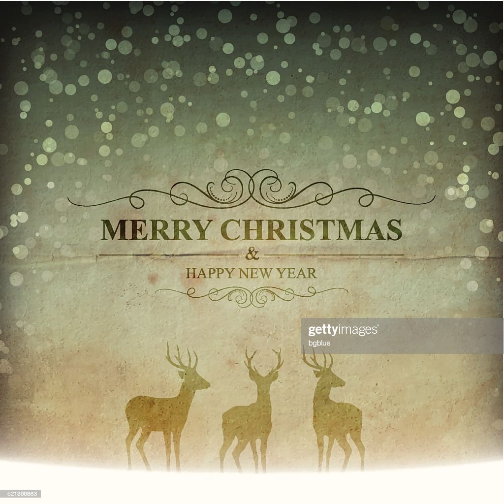 Merry Christmas lettering with snow and reindeers on vintage Background