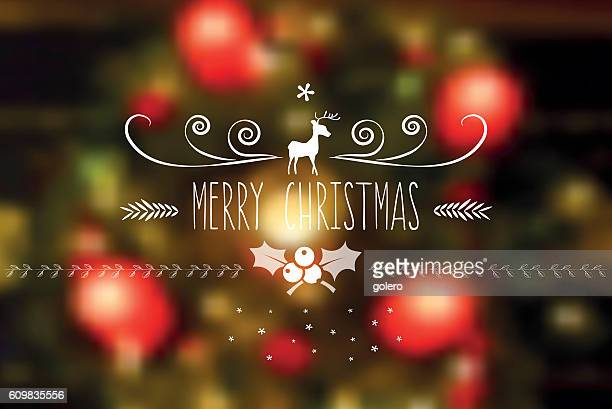 merry christmas line art icon on blurred festive candlelight background - blink stock illustrations, clip art, cartoons, & icons