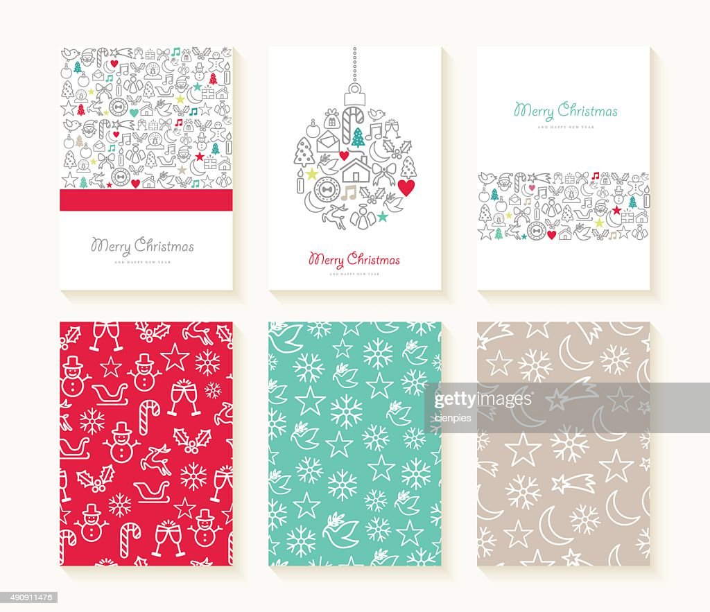 Merry Christmas line icon patterns background card