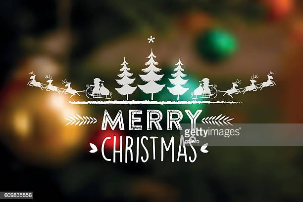 merry christmas line illustration on blurred background