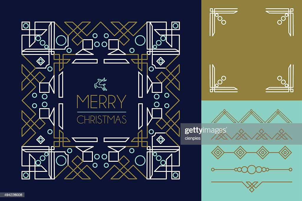 Merry christmas mono line set ornament frame deco