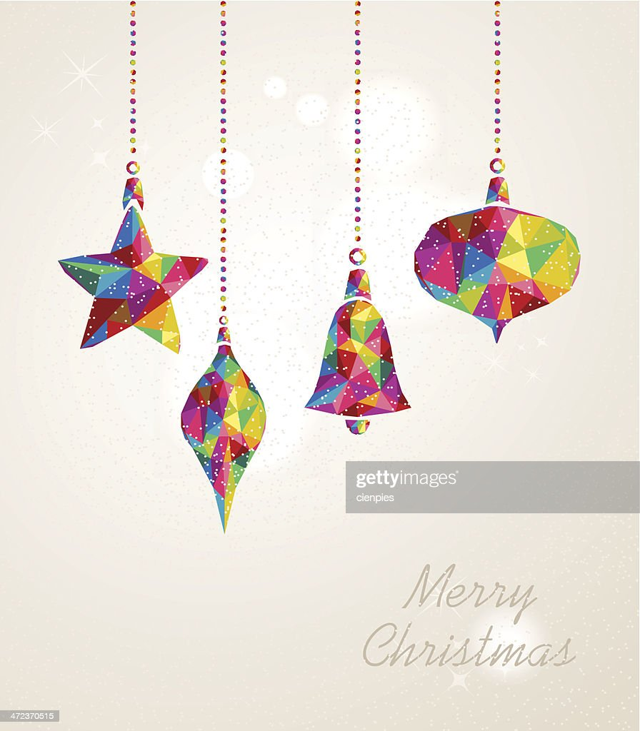 Merry Christmas multicolors hanging baubles composition