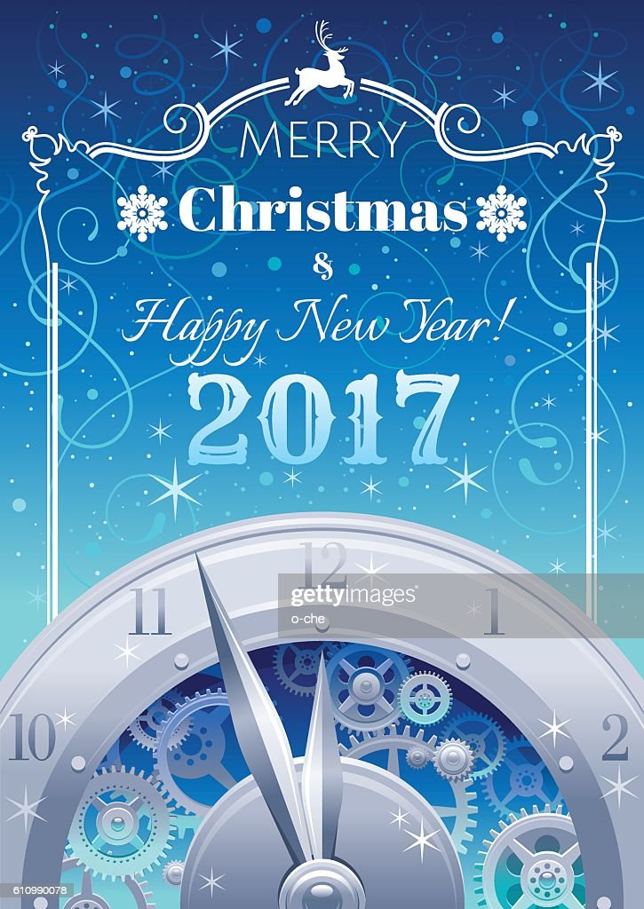 Merry Christmas, New year 2017 flyer. Greeting card clock design