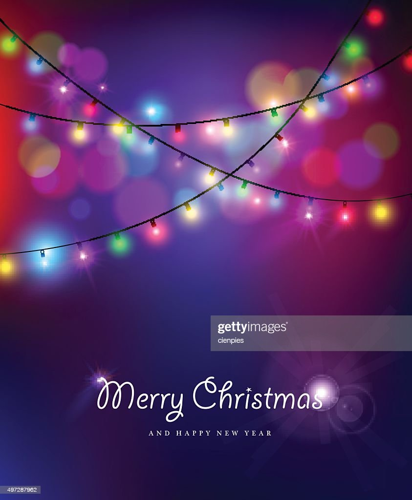 Merry christmas new year bokeh lights blur holiday