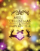 Merry christmas new year deer holly ornament bokeh