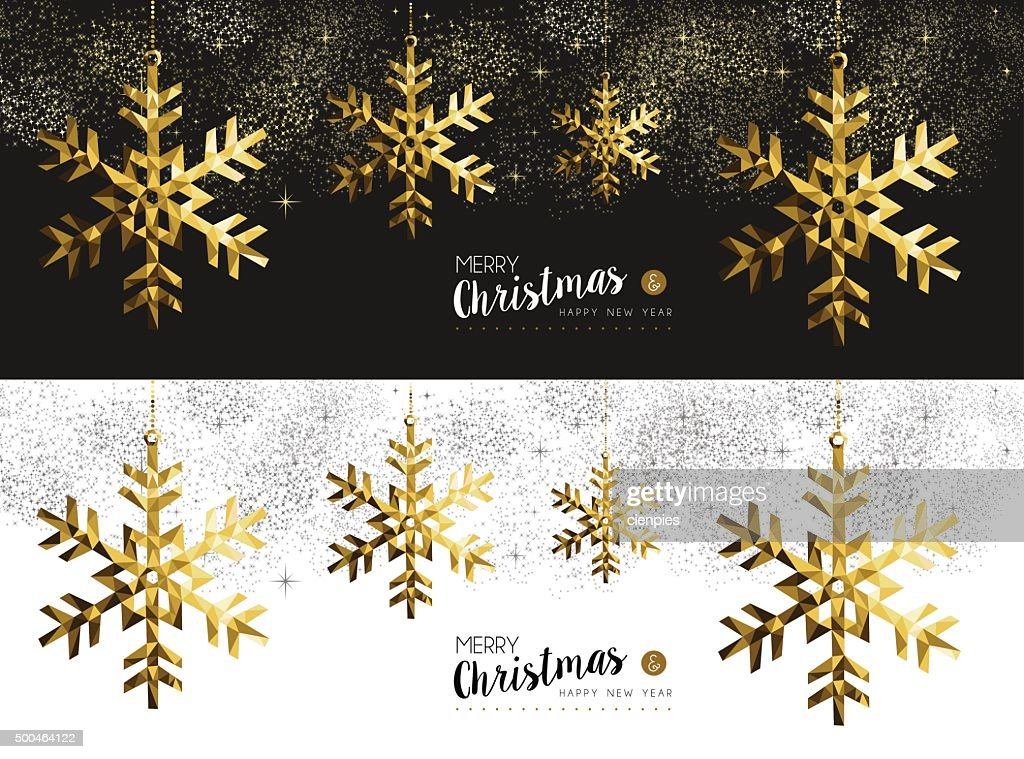 Merry christmas new year social media banner gold