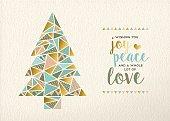 Merry christmas new year triangle tree gold retro
