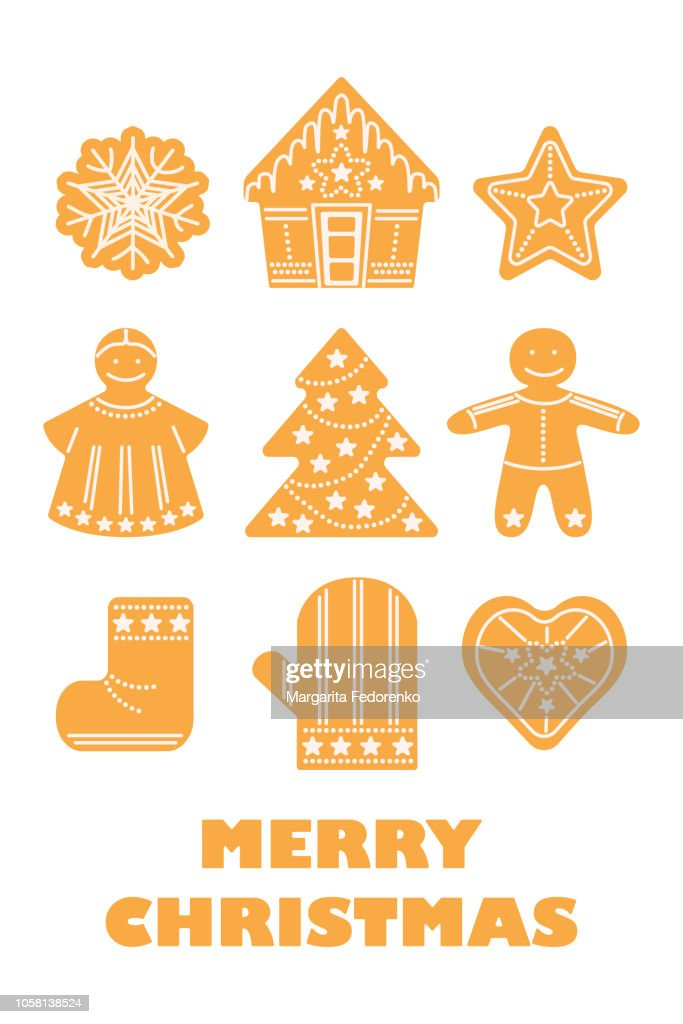 Merry Christmas, new year, winter holidays traditional cookies set card with angel, ginger man, Christmas tree, snowflake, other figures