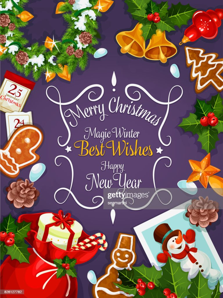 merry christmas new year wishes card poster vector art