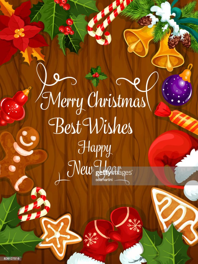 merry christmas new year wishes greeting card vector art