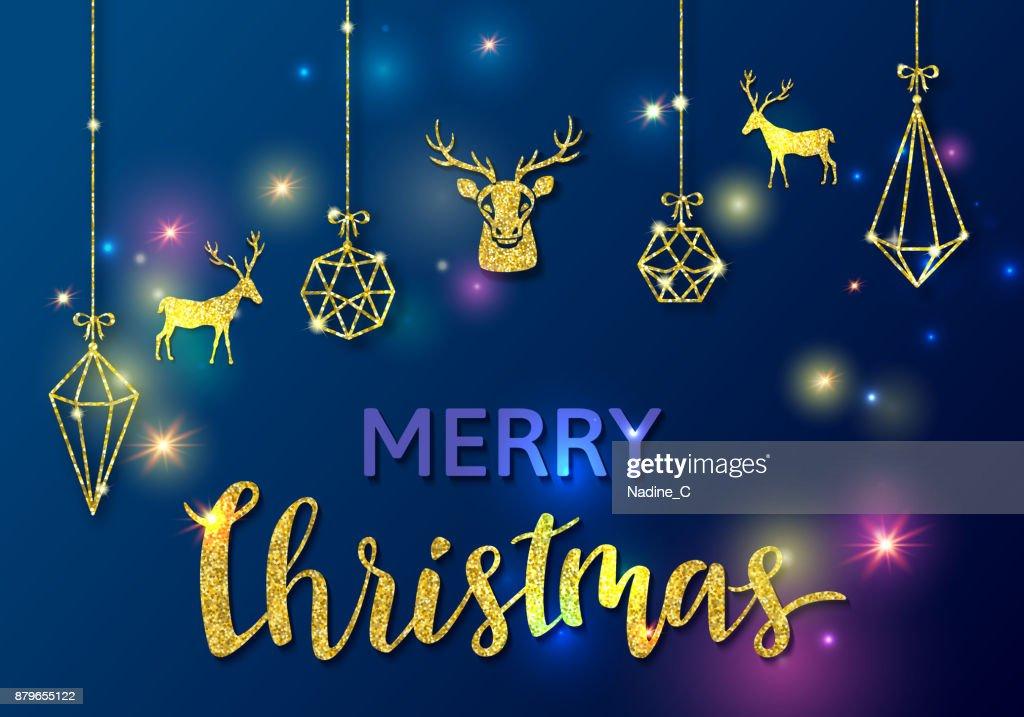Frohe Weihnachten Glitzer.Frohe Weihnachten Oder Silvesterkonzept Mit Goldenen Vektor Glitzer