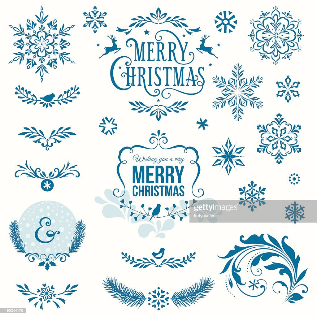 Merry Christmas Ornate Set Blue