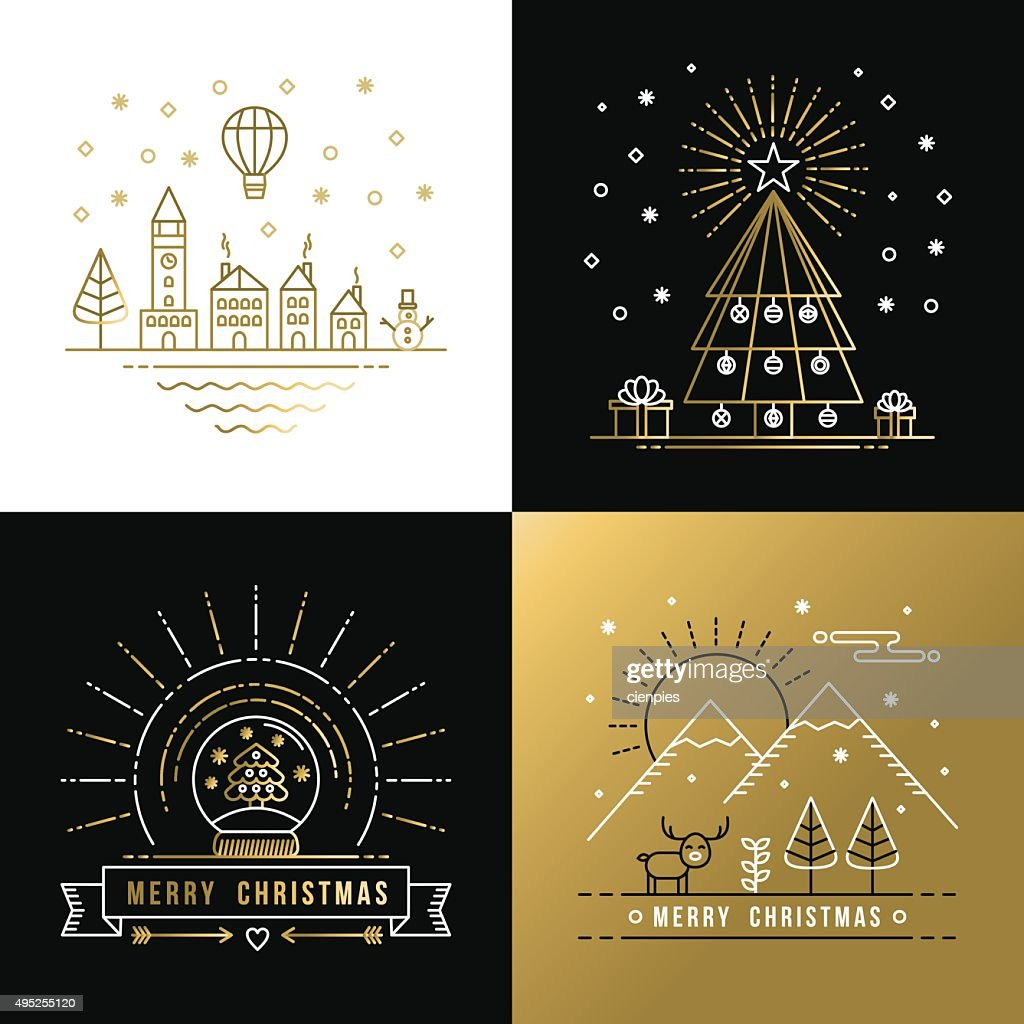 Merry christmas outline gold set label city xmas