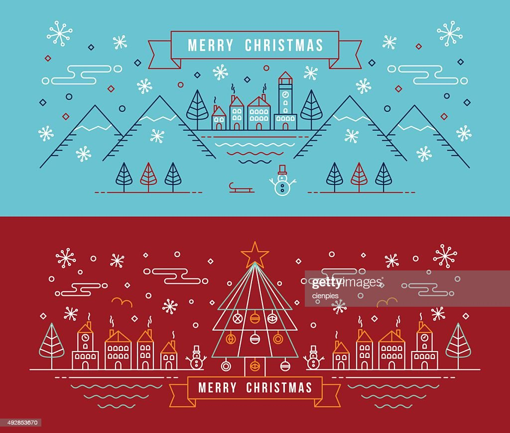 Merry christmas outline linear city winter banner