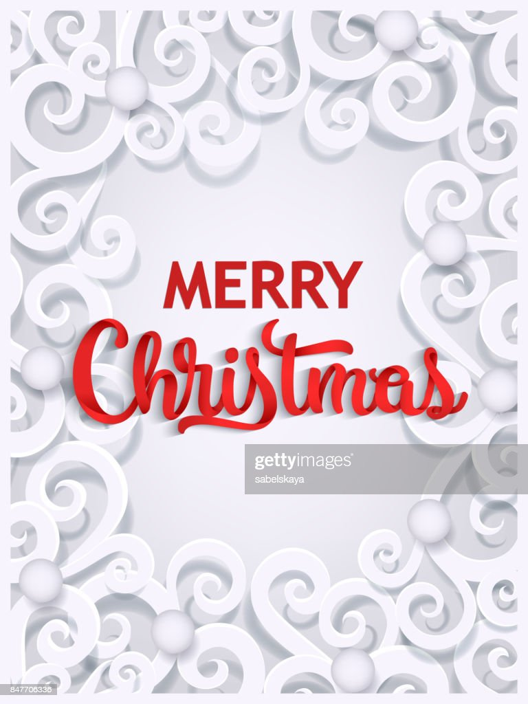 Merry christmas paper cut greeting card template vector art getty merry christmas paper cut greeting card template m4hsunfo