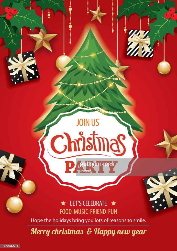 Merry christmas party and tree on red background invitation theme concept. Happy holiday greeting banner and card design template.