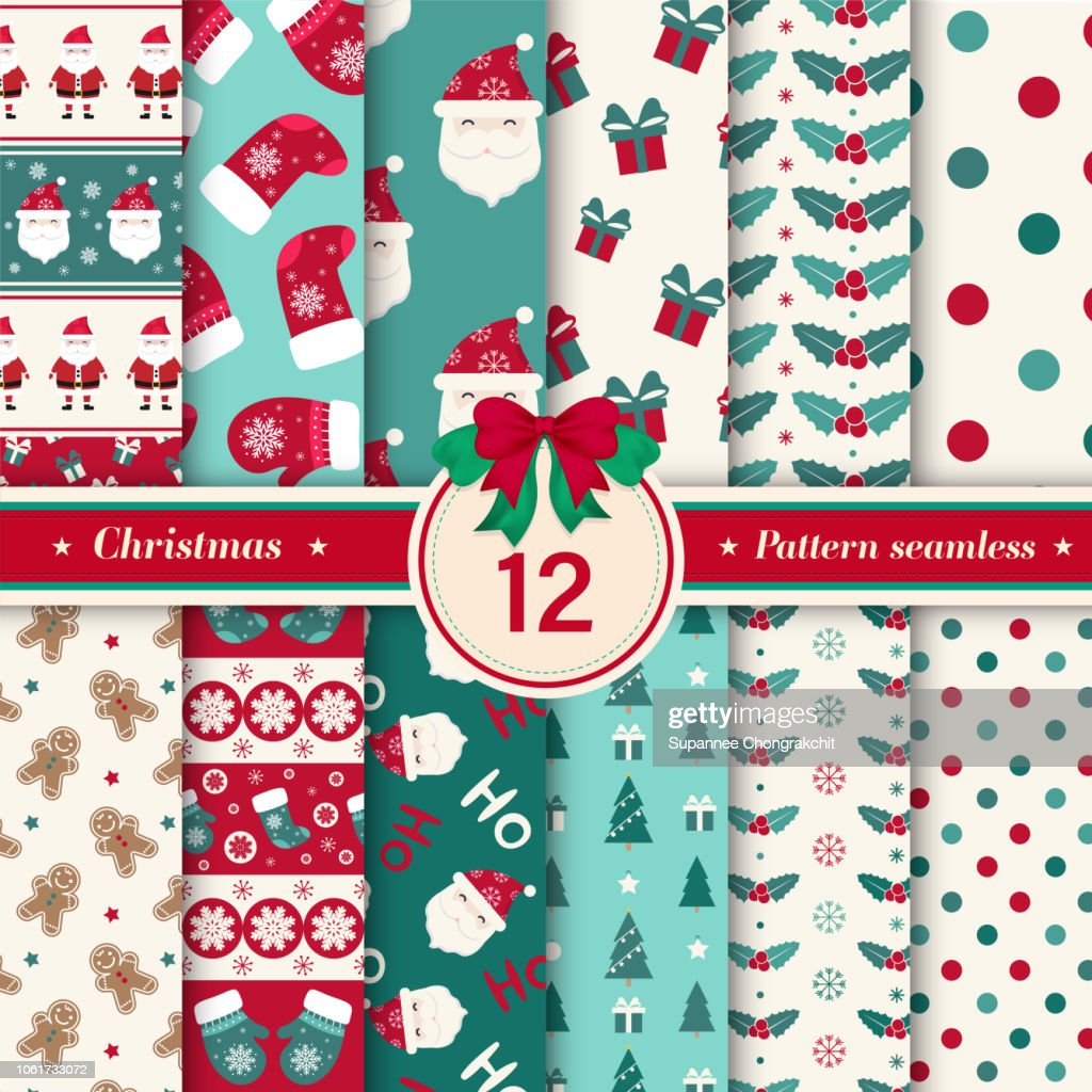 Merry Christmas Pattern Seamless Collection Set Of 12 Xmas Winter Holiday Background Endless Texture For Gift Wrap Wallpaper Web Banner Background Wrapping Paper And Fabric Patterns High Res Vector Graphic Getty Images