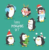 Merry Christmas penguins set
